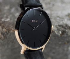 Lokken Watches - First Editions - Ø1 // New 2017 // Black face watch with black and rose gold dipped detail // Leather Strap // Unisex watch // Minimal watch