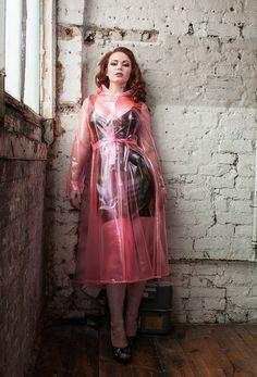 New Ruby Raincoat in semi trans red material.