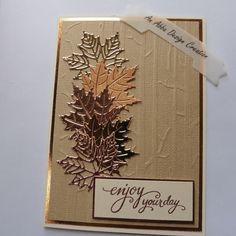gilded autumn by abbadesign - Cards and Paper Crafts at Splitcoaststampers Masculine Birthday Cards, Birthday Cards For Men, Fall Cards, Christmas Cards, Leaf Cards, Scrapbook Cards, Scrapbooking, Paper Crafts, Card Crafts
