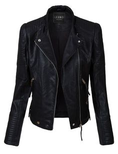 LE3NO Womens Vintage Quilted Long Sleeve Faux Leather Moto Biker Jacket