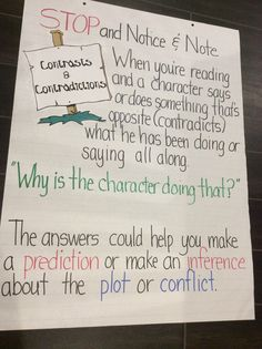 Notice and Note Anchor Chart: Contrast and Contradictions ( I made this myself!)