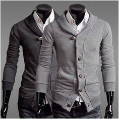 Men's Slim Fit Shawl Collar Cardigan <------ Love this look! Shawl Collar Cardigan, Sweater Jacket, Men Sweater, Gray Sweater, Raining Men, Cardigan Fashion, Well Dressed Men, Slim Man, Gentleman Style