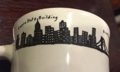 Classic Homer Laughlin New York Skyline Coffee Diner Mug Fishs Eddy Empire State | WorthPoint