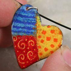 sgraffito enameling | Colorful Heart Patchwork Enamel Pendant/Necklace by tekaandzoe