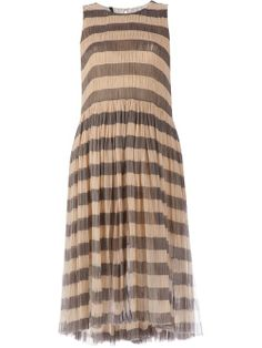 Ecru and grey silk and cotton striped midi dress from Sara Lanzi