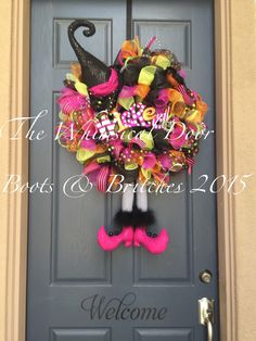 Witch Wreath Witch Hat and Boots Halloween Wreath Witch Hat and Broom Wreath HUGE Halloween Wreath by TheWhimsicalDoor on Etsy https://www.etsy.com/listing/241628787/witch-wreath-witch-hat-and-boots