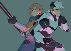 Shiro the Black Paladin and Matt Holt fighting together as a team from Voltron Legendary Defender Shiro Voltron, Voltron Klance, Voltron Fanart, Form Voltron, Voltron Ships, Matt Voltron, Voltron Paladins, Voltron Force, Log Horizon