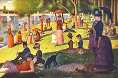 Georges Seurat 1859-1891: Acknowledged as a leader of the avant-garde Seurat was fascinated by the science of light and color and used the primary colors placed in tiny dots on a flat colored background. This technique was known as pointillism.