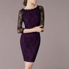 Fashion Fall/Autumn Purple Dress Black Lace Work Vintage Style O Neck Elegant Lace Dress Three Quarter Sleeves on Etsy, $88.90
