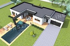 House Decoration - plan maison HARLEM ciel - My Popular Photo New Model House, Model House Plan, House Plans, Building A Container Home, Container House Design, Dream Home Design, Home Design Plans, Minimal House Design, Flat Roof House