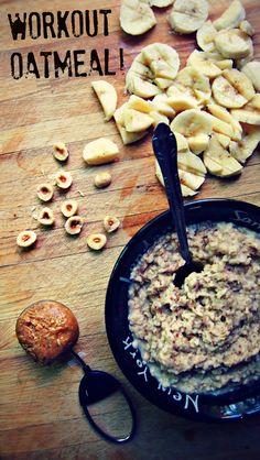 Perfect Pre-Workout Fuel: Peanut Butter Banana Oatmeal W/ Hazelnuts & Flax (Vegan)