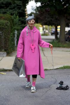 #Poodle #fashion #style ADVANCED STYLE: Christina Viera in Pink Comme des Garcons