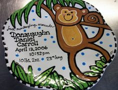 Monkeying around baby announcement plate.