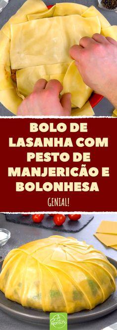 Bolo de lasanha com pesto de manjericão e bolonhesa. Genial! #lasanha #massadelasanha #bolodelasanha #bolonhesa #pesto #molhobranco #pestodemanjericao Argentina Food, Low Sodium Soy Sauce, Cooking Recipes, Healthy Recipes, Empanadas, Pork Chops, Food And Drink, Veggies, Low Carb