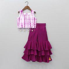 Pre Order: Grape Dip With Sharara Kids Party Wear Dresses, Kids Dress Wear, Kids Gown, Little Girl Dresses, Baby Girl Party Dresses, Girls Party Wear, Kids Wear, Girls Frock Design, Baby Dress Design