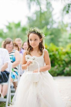 Tulle flower girl dress with flower crown // Photographer: KMD Creations