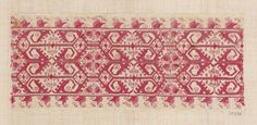 Embroidered border fragment Italian or Spanish, mid 16th–mid 17th century  Linen plain weave embrodiered with silk in double running and satin stitches