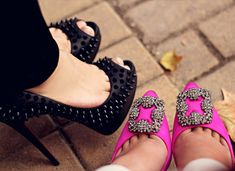 27 Looks with Hangisi Manolo Blahnik. Glamsugar.com Love them both…but I would really rock the pink ones.
