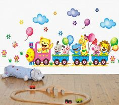 Removable Wall Stickers Cartoon Cute Animals Train Balloon Kids Bedroom Home Dec #Walls #Modern