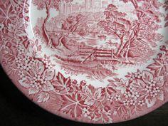Red Pink Toile Transferware Girl Hat Bridge Berries Leaves Vintage Plate Edge www.DecorativeDishes.net