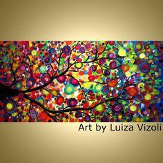 Original Modern Whimsical Large Painting LEMON TREE by LUIZAVIZOLI