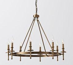 Round Iron aged brass chandelier