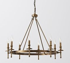 Collins Metal 8-Light Candle Cup Sleeve Chandelier, Aged Brass finish $424, can add shades