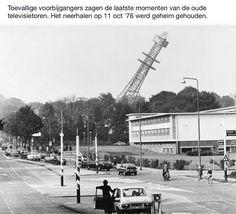 Neerhalen Televisietoren te Hilversum op 11 Oktober 1976.