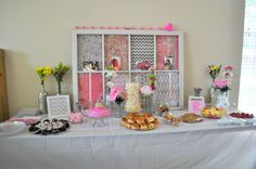 """Use this type of thing on the table since we can't attach anything to the walls or ceiling....""""Pink, Gray, and White Chevron Baby Shower Decorations"""""""