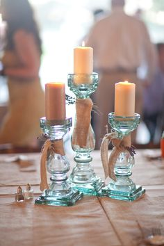 Rustic Wedding Candle Holders -  would be an easy way to do cheap centerpieces