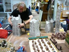 Noel McKenna, at Glasgow Ceramic Studio. Bit of everything here - small, medium and large tenements and a tower!