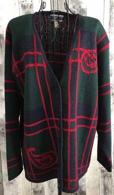 Vintage Pendleton 100% Virgin Wool Plaid Cardigan Sweater Top Jacket Size Large #Pendleton #Cardigan
