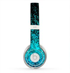 The Black and Turquoise Unfocused Sparkle Print Skin for the Beats by Dre Solo 2 Headphones