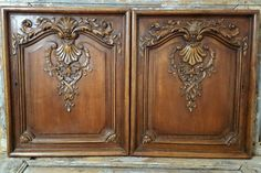 Two vintage french Rococo Baroque Louis xv Carved WOOD PANEL DOOR