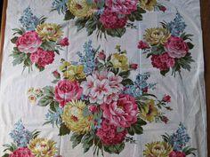 1940s Vintage Large Floral Bouquet Chintz Fabric - 4.5 yards. $54.00, via Etsy.
