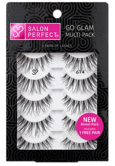 Go Glam Multi Pack 614 - For nearly 20 years Salon Perfect has provided women with the same premium false lashes used by professionals. Our selection of lashes range from strip to individual, from a natural look to high drama. Our most popular lashes are Artificial Eyelashes, Fake Eyelashes, False Lashes, Drugstore Makeup, Makeup Cosmetics, Salon Perfect Lashes, Eyelash Serum, Eyelash Growth, Eyelash Tips