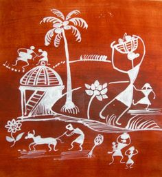 Warli Village Scene Handmade Painting On Paper 10 by creations1000