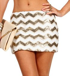 Gold/Ivory Sequin Chevron Skirt. With back tight and pumps. CUTE.