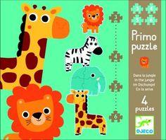 4 puzzles évolutifs de 3, 4, 5 et 6 pièces spécialement conçus pour les tout-petits. Puzzles de 20 x 20 cm chacun, en carton. Puzzles sur le thème des animaux de la jungle : - un lion : 3 pièces - un zèbre : 4 pièces - un éléphant : 5 pièces - une girafe : 6 pièces