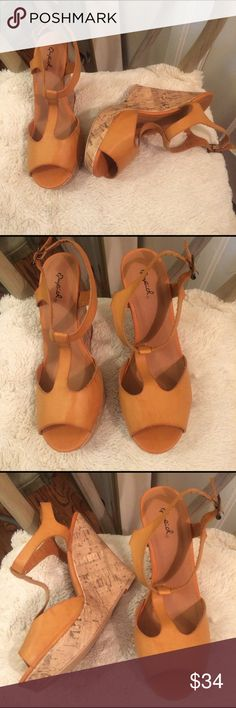 🌺SALE!! Natural Cork Wedges🌺 Size 8.5 TTS. New Never worn outside of house. Only tried on. I have too many similar😬 5 inch cork heel 1 inch platform Qupid Shoes Wedges