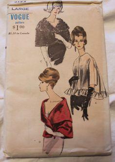 Vtg Sewing Pattern 1960's 70's Cape Wrap Stole Jacket Uncut Vogue 6122 Large sld 29+2 5bds 9/16/15