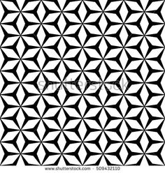 Vector monochrome seamless pattern, simple repeat geometric texture, polygonal floral ornament, black & white mosaic background. Design element for prints, decor, digital, cover, textile, furniture
