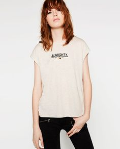 Image 1 of APPLIQUÉ TEXT T-SHIRT from Zara