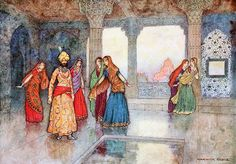 """The six queens tried to comfort him. From 'The Boy with the Moon on his Forehead'. """"Folk Tales of Bengal"""" (1912) illustrated by Warwick Goble"""