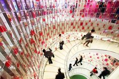 Tickled pink ... Shanghai's Barbie store, the biggest in the world. A three-storey spiral staircase featuring 875 dolls in hand-sewn clothes is the store's centrepiece.