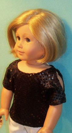 18 inch American Girl Doll Black Sequined Cold Shoulder Top