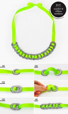 Washer and ribbon neon necklace tutorial
