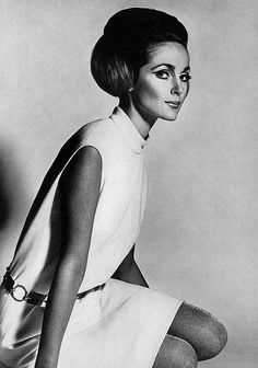 White wool jersey shift by Dorville, photo by Henry Clarke for Vogue 1967