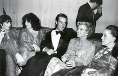Former First Lady Betty Ford, seated with designer Halston, Martha Graham (right) joined Liza Minnelli (far left) and Elizabeth Taylor for a party at Studio 54 on May 21, 1979, as Secret Service detail (behind) kept a security watch. Remember how shocked many of us were when photos of Elizabeth started to show up when she was putting on all the weight?