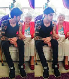 Zayn met his oldest fan —- 99 yr old great-grandmother in law to be